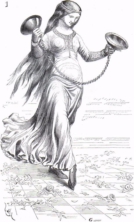 Danseuse jouant du tymbre ou cembel