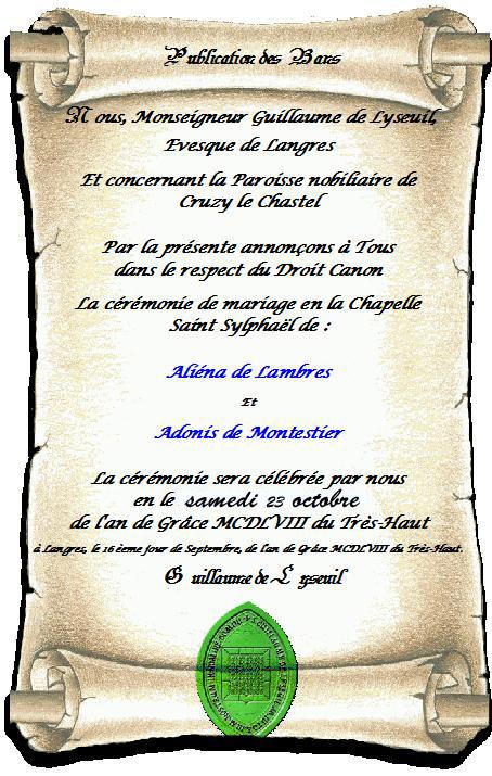 Publication des bans pour maximien ali na - Publication banc mariage ...